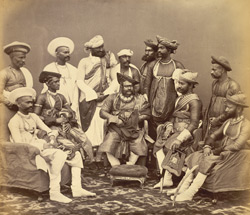 The Maharaja Scindhia [of Gwalior, with state officials]